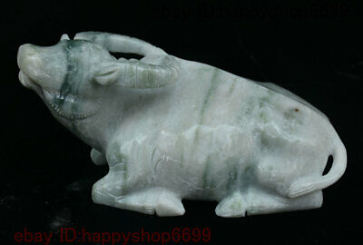 China 100% Stone Jade Carving Fengshui 12 Zodiac Year Animal Ox Bull Oxen Statue