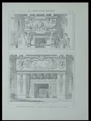 Cheminee, Chasse - 1899 - Planche Architecture - Concours Rougevin