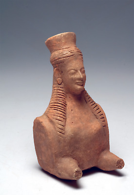 Molded Ancient Terracotta bust of a smiling Sphinx 6th century B.C. Greek Art