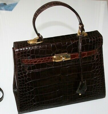 1980s Vintage ALEDA BORSE ITALY Classic Handbag Brown Leather Mock-Croc Purse