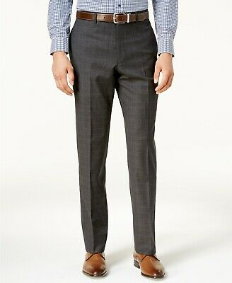 $280 Michael Kors 30W 34L Men's Gray Check Modern Fit Wool Suit Trousers Pants