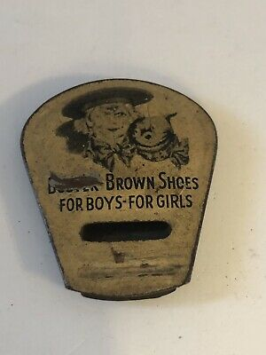 ANTIQUE 1920's BUSTER BROWN SHOES TIN ADVERTISING WHISTLE WORKS COOL VERY RARE