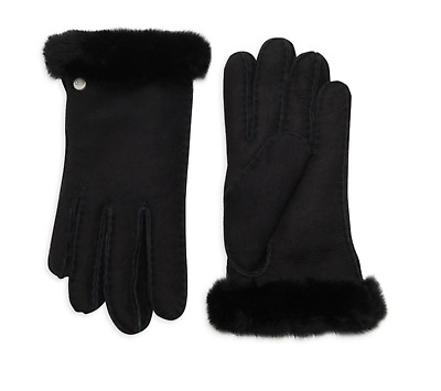 UGG Women's SHEARLING Sheepskin-Trimmed Leather Gloves Black S, M, L Retail $140