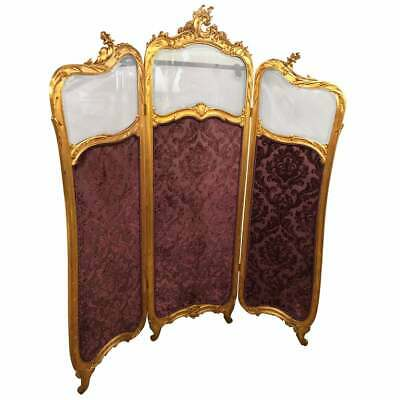 19th Cent Louis XV, Giltwood Three Fold Screen with Original Glass Panels 435-28