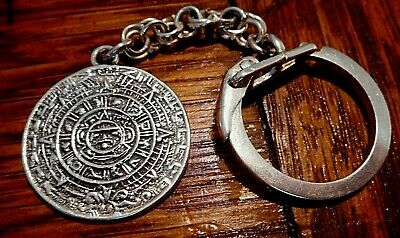 Old Sterling Silver Mexico Mayan Aztec Pendant Calendar Key Chain All Sterling