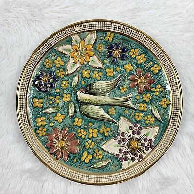 Vintage 1960s Belgium Hand Painted Colorful Bird & Floral Ceramic Wall Plate
