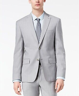 $550 Dkny 44L Men's Gray Wool Solid Blazer Suit Coat 2 Button Jacket *REPAIRED*