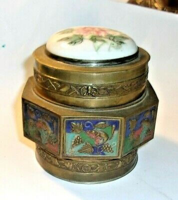 Nice antique Chinese Enameled Brass with porcelain hand painted lid Fish Theme