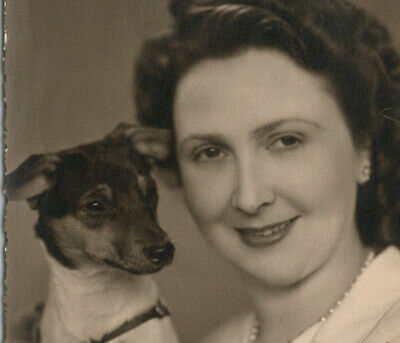 a2 RPPC Germany ? Pretty Lady w/ her Jack Russell Terrier 154a