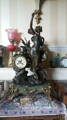 ***Beautiful Quality***Large 19thC J Freres Green Marble Striking Figural Clock
