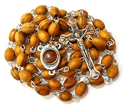 Blessed Catholic Rosary Necklace Olive Wood Oval Beads Jerusalem Soil Crucifix