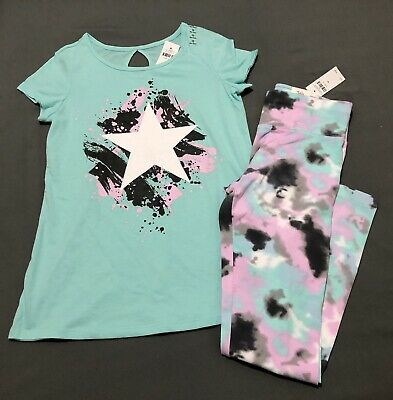 *Nwt* Justice Girls Size 12 Sparkly Star Back Hole Top N Tie-Dye Leggings Set