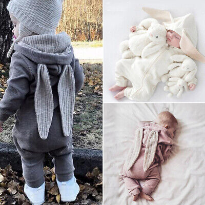 UK Winter Kids Baby Boy Girl Cotton Rabbit Hooded Jumpsuit Romper Clothes Outfit