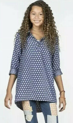 435 Matilda Jane Size 14 From The Heart Blue White Polka-Dot Top Long Sleeve