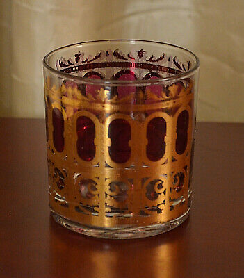 1 Vintage CULVER Cranberry Scroll Cocktail  Whiskey Glass Tumbler MCM Regency