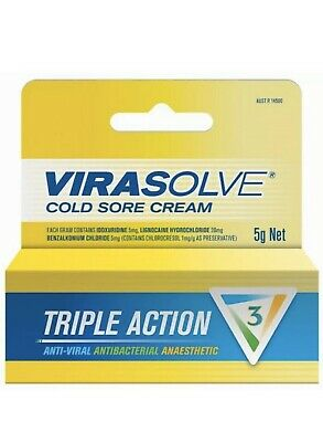 Virasolve Cold Sore Cream 5g Triple Action Anti Viral Actibacterial