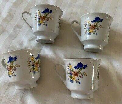 Rare Antique tienshan China Set 4 cups With Delicate flowers, Pink, Blue,Yellow