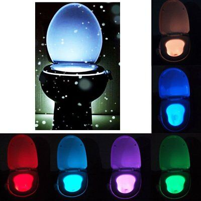8 Colors LED Toilet Bathroom Night Light Motion Activated Seat Sensor ZQ