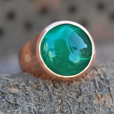 Solid 925 Sterling Silver Malachite Ring Rose Gold Mens Ring Signet Ring S29