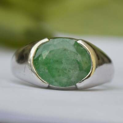 Solid 925 Sterling Silver Emerald Ring Mens Ring Signet Ring Unisex Ring S30