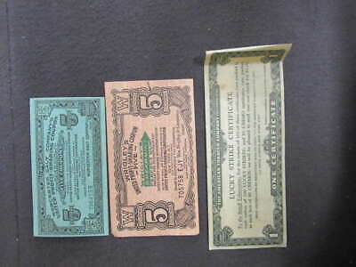 (3) Vintage United Profit Sharing Coupon Lot Lucky Strike Wrigley Worcester T35
