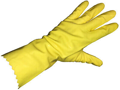 Yellow Flock Lined Latex household Gloves 18 Mil Textured Small Dozen Pairs