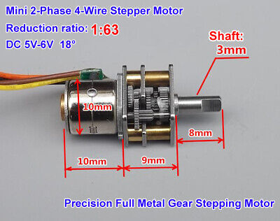 DC 5V 2-Phase 4-Wire 10mm Full Metal Gearbox Gear Stepper Motor Robot Car 1:63