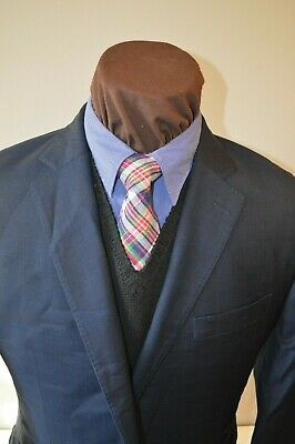 Peter Millar mens 2btn dark blue brown windowpane sport coat jacket blazer z 42S
