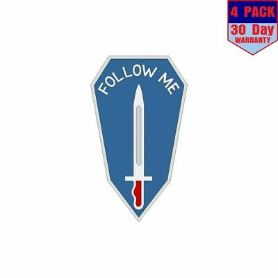 US Army Infantry School Follow Me 4 Stickers 4x4 Inch Sticker Decal