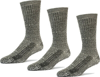 TRAIL PRO Men's Wool Crew Socks 3 Pairs 65% Wool Strong Arch Support HIKING