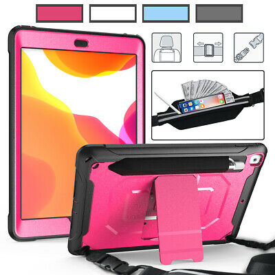 For Apple iPad 7th Gen 10.2 Shockproof with Pen Slot Stand Shoulder Strap Case