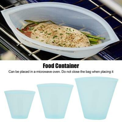 3Pcs Kitchen Fresh Zip Lock Bags Reusable Silicone Food Freezer Storage Ziplock