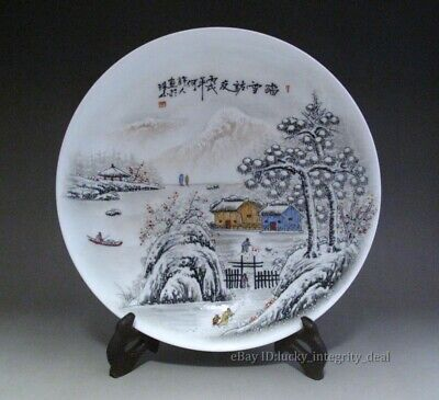 Nice Chinese Antique Ink Color Porcelain Plate Marked-Snow Scene