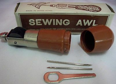 Vintage Sewing Awl In Original Box Made in Hong Kong Sews Canvas Leather Crafts