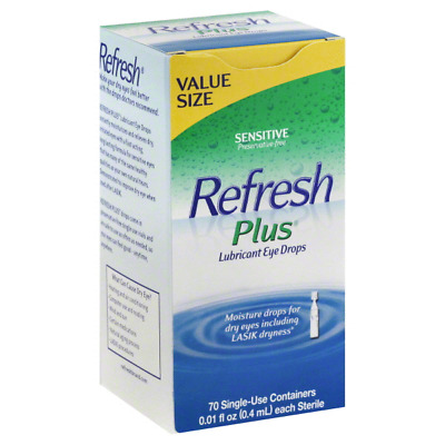 Lot 3 Boxes Refresh Plus® Preservative-Free Lubricant Eye Drops, 70 ct Each