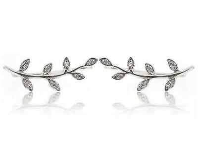NEW 925 Sterling Silver Crawler Earpin Climber Antiqued Leaf Cuff Earrings 1.2g