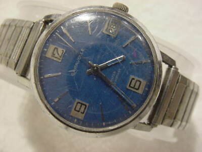 Vintage large antique Art Deco BULOVA BLUE DIAL mens watch