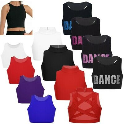 Girls Plain Crop Top Kids Sleeveless Dance Vest Fitness Training Gym Bra Top Set