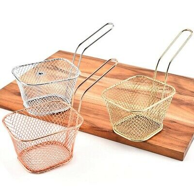 Two Handle 8.5/'/' Stainless Steel Deep Frying Mesh Basket E012