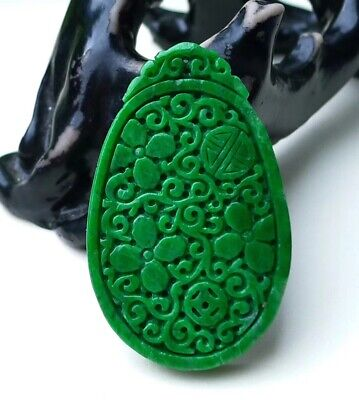 VTG Emerald Full Green Jadeite Jade Pendant Handcarved Flower