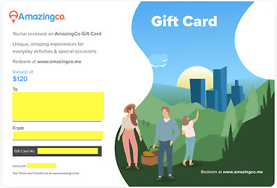AmazingCo $120 Gift Card | Choose Romantic Experience | Registered Delivery