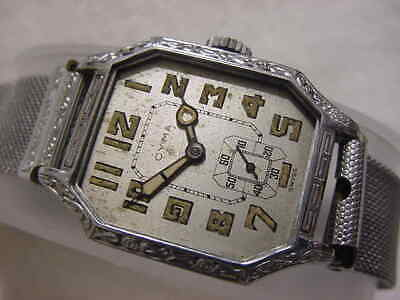 Vintage GOLD FD large antique 1920 Art Deco CYMA ENGRAVED mens watch