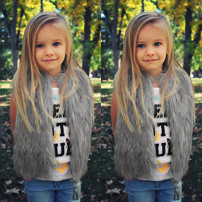 Baby Girls Kid Winter Faux Fur Waist Gilet Jacket Outwear Vest Coat Waistcoat MD