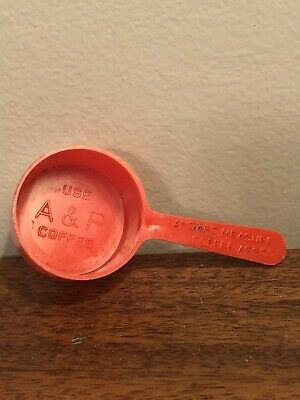 Vintage A&P Coffee Advertising Red Measuring Cup Scoop For Coffee Rare
