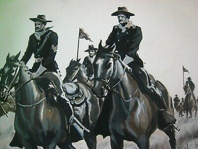 Original 1940s Western Pulp Illustration Art -  ' Cavalry Charge  ! '...signed