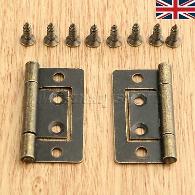 UK STOCK 38mm*20mm Jewelry Box Chest Cabinet Hinges Furniture Door Flush Hinge