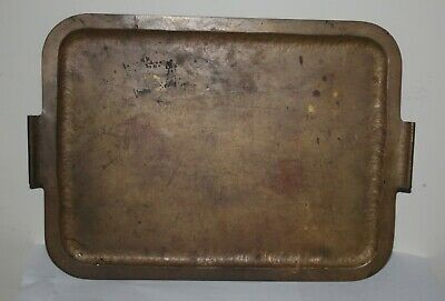 Mid-Century BRONZE HAND HAMMERED TEA SERVING TRAY Large Patina Curved Handles