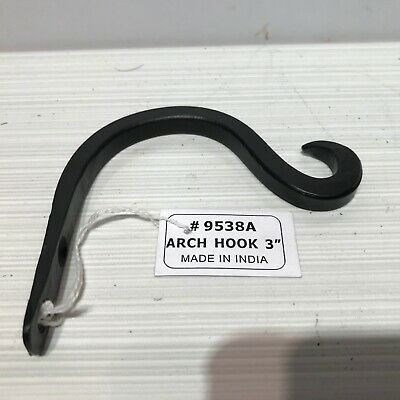 """1 Bent Wrought Iron Wall Hook Hanger 3.5"""" Rustic Antique Style Barn Hardware New"""