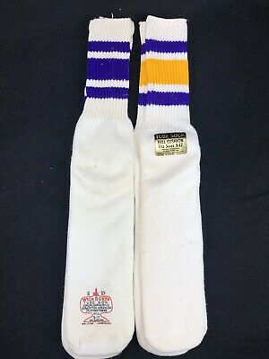 Vintage Orlon Tube Sock Purple Striped Lot Of 2 Deadstock Rockford 9-17 Wick Dry