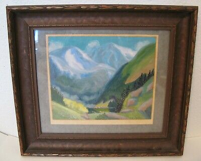 Vintage 1920'S Artist Signed Oil Painting Beautiful Landscape  Pueblo Colorado